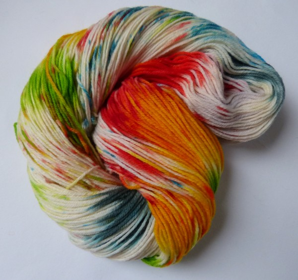 High Twist Sockenwolle handgefärbt 100g, Holi