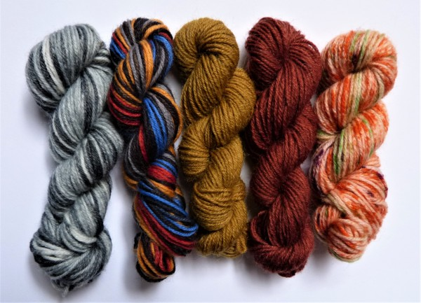 5 Mini-Stränge Sockenwolle 50g Mix 3