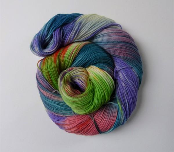 Sockenwolle handgefärbt 100g, Konfetti