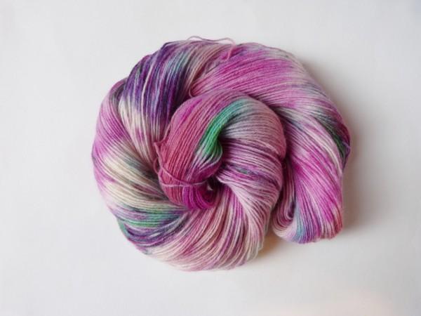 Sockenwolle handgefärbt 100g, Feenstaub