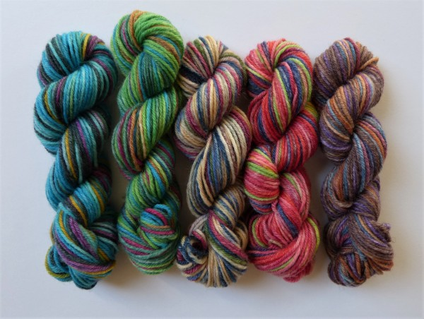 5 Mini-Stränge Sockenwolle 50g, Faszination Schafpate