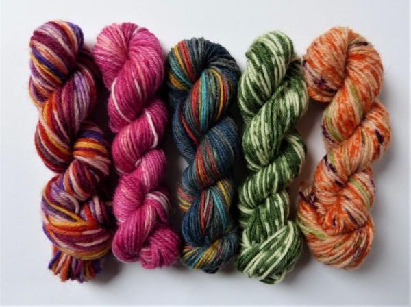 5 Mini-Stränge Sockenwolle 50g Mix 20