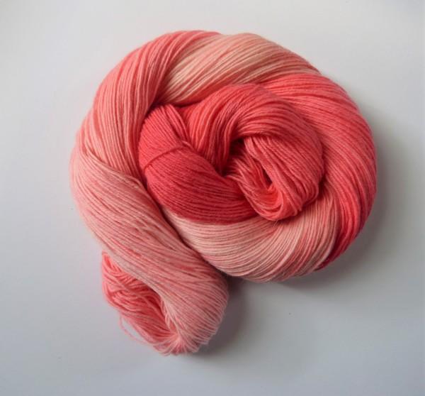 Sockenwolle handgefärbt 100g, Flamingo