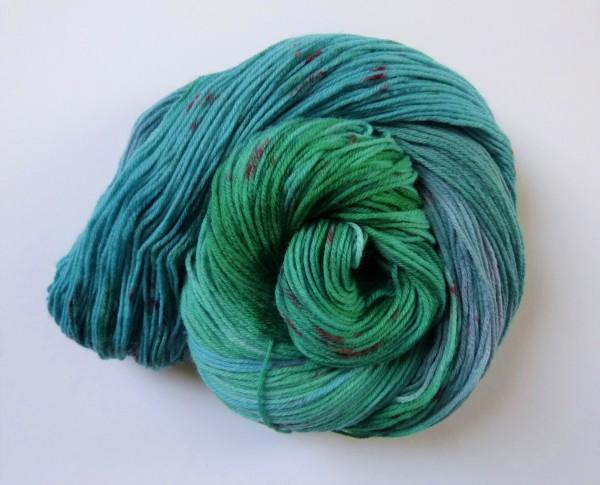 High Twist Sockenwolle handgefärbt 100g, Meeresbrise