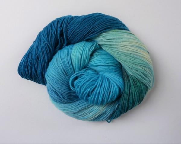 Sockenwolle handgefärbt 100g, Am Meer