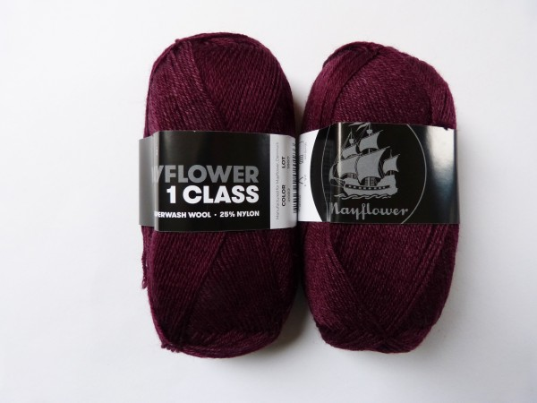 Mayflower Sockenwolle 1 Class uni 50g, Fb. 2082 dunkles bordeaux