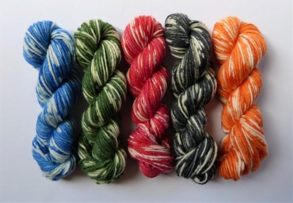 5 Mini-Stränge Sockenwolle 50g True Love