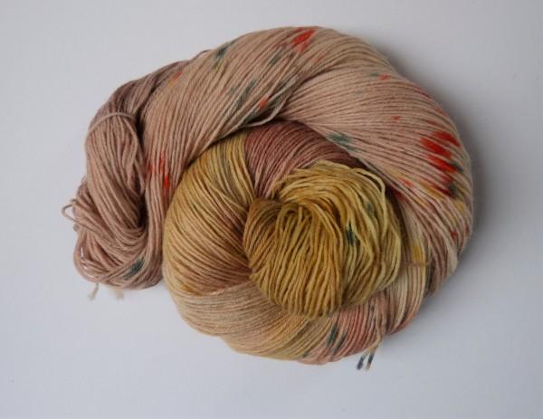 Sockenwolle handgefärbt 100g, Saharastaub