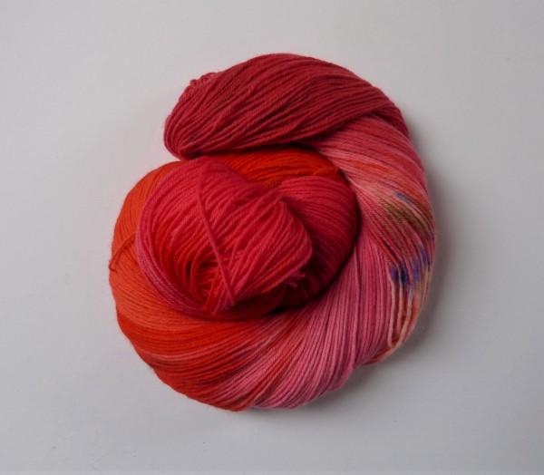 Sockenwolle handgefärbt 100g, Feuerrot