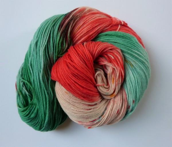 High Twist Sockenwolle handgefärbt 100g, Fast schon Wassermelone
