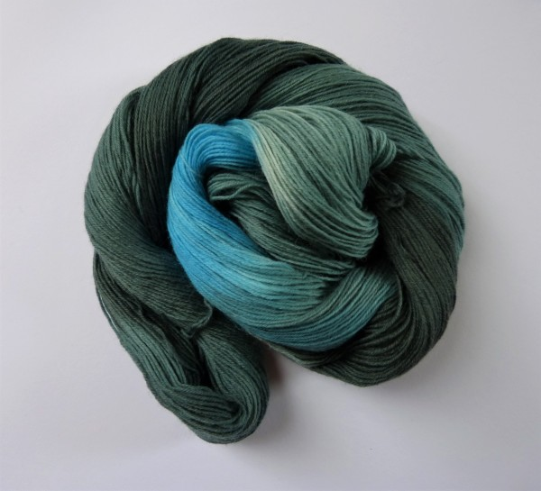 Sockenwolle handgefärbt 100g, Nordseesturm