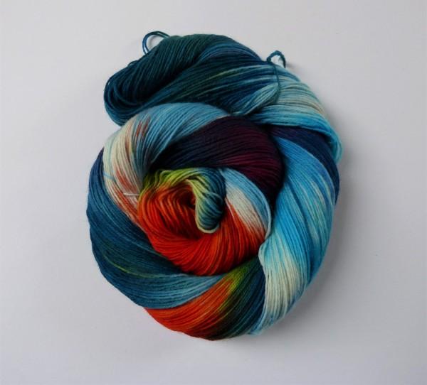 Sockenwolle handgefärbt 100g, Feuervogel