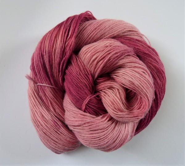Sockenwolle handgefärbt 100g, Kirschblüte